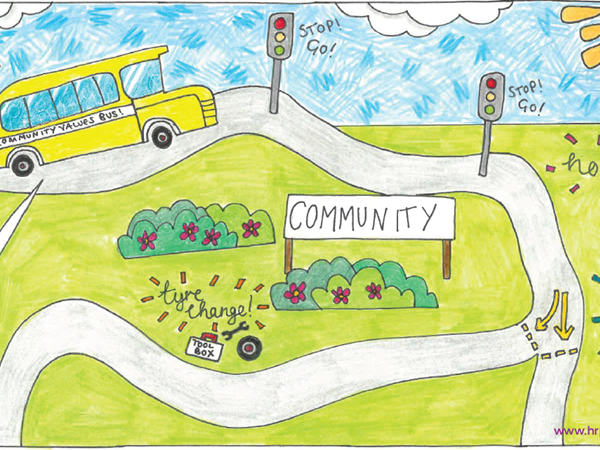 Drawing of Bus in the Community