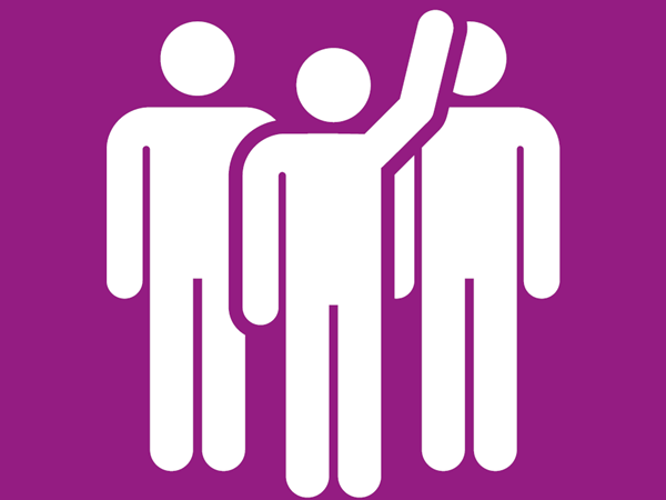 Three Stick People on Purple Background