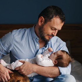 Father and Baby with Dog