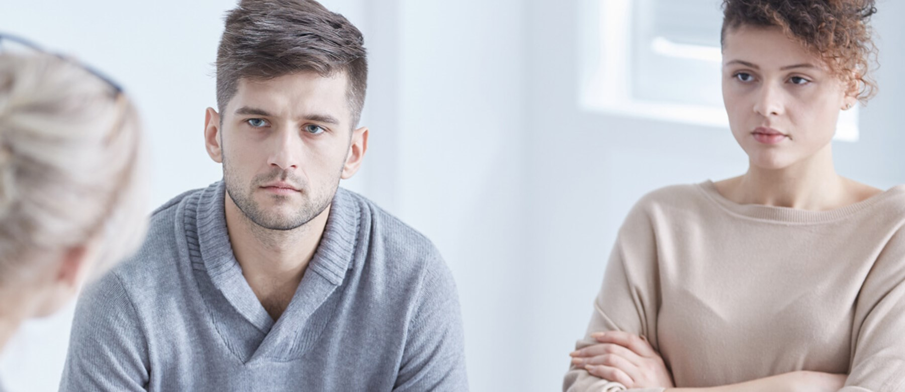 Unhappy Couple in Mediation Session